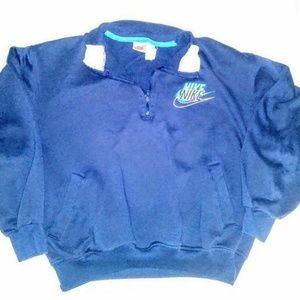 Nike Vintage Womens 80s Collared Blue Sweatshirt M